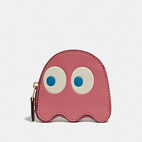 COACH F73165 PAC-MAN GHOST COIN CASE PEONY/GOLD
