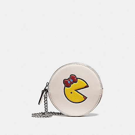 COACH F73166 ROUND COIN CASE WITH MS. PAC-MAN CHALK MULTI/SILVER