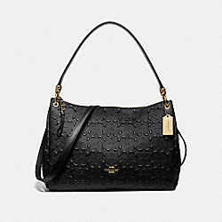 MIA SHOULDER BAG IN SIGNATURE LEATHER - F73176 - BLACK/GOLD