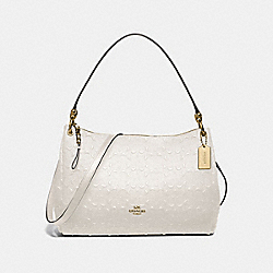 MIA SHOULDER BAG IN SIGNATURE LEATHER - F73176 - CHALK/GOLD