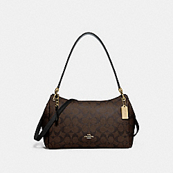 SMALL MIA SHOULDER BAG IN SIGNATURE CANVAS - F73177 - BROWN/BLACK/GOLD