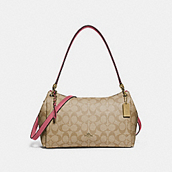 SMALL MIA SHOULDER BAG IN SIGNATURE CANVAS - F73177 - LIGHT KHAKI/ROUGE/GOLD