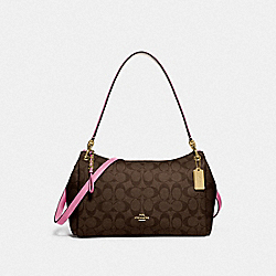 SMALL MIA SHOULDER BAG IN SIGNATURE CANVAS - F73177 - IM/BROWN PINK ROSE