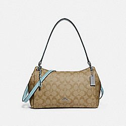 SMALL MIA SHOULDER BAG IN SIGNATURE CANVAS - F73177 - LIGHT KHAKI/SEAFOAM/SILVER