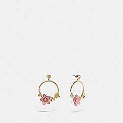 FOLK FLORAL HOOP EARRINGS - F73181 - PINK/GOLD