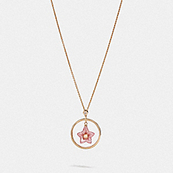 COACH F73182 Folk Floral Necklace PINK/GOLD