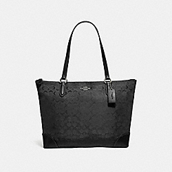 COACH F73184 - ZIP TOP TOTE IN SIGNATURE NYLON BLACK/SILVER