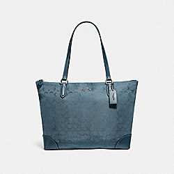COACH F73184 Zip Top Tote In Signature Nylon BLUE/SILVER
