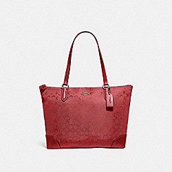 COACH F73184 Zip Top Tote In Signature Nylon RED/SILVER