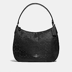 COACH F73185 - ZIP SHOULDER BAG IN SIGNATURE NYLON BLACK/SILVER