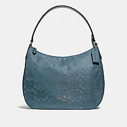 COACH F73185 - ZIP SHOULDER BAG IN SIGNATURE NYLON BLUE/SILVER