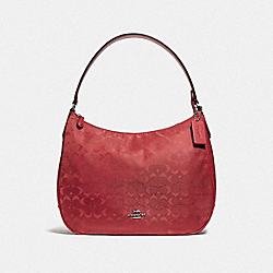COACH F73185 Zip Shoulder Bag In Signature Nylon RED/SILVER