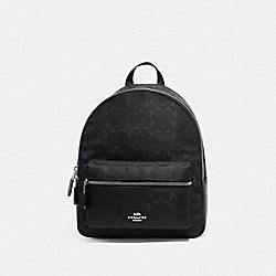 COACH F73186 Medium Charlie Backpack In Signature Nylon BLACK/SILVER
