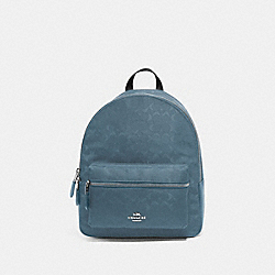 COACH F73186 Medium Charlie Backpack In Signature Nylon BLUE/SILVER
