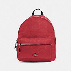 COACH F73186 Medium Charlie Backpack In Signature Nylon RED/SILVER