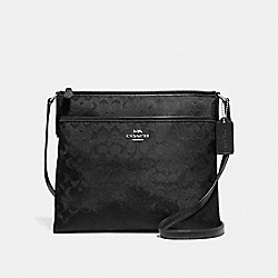 FILE CROSSBODY IN SIGNATURE NYLON - F73187 - BLACK/SILVER