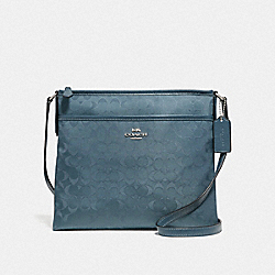 FILE CROSSBODY IN SIGNATURE NYLON - F73187 - BLUE/SILVER