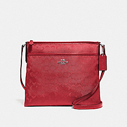 FILE CROSSBODY IN SIGNATURE NYLON - F73187 - RED/SILVER