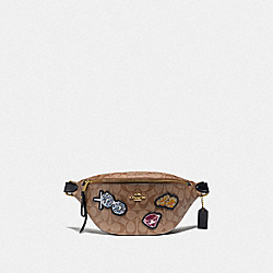 DISNEY X COACH BELT BAG IN SIGNATURE CANVAS WITH SNOW WHITE - F73188 - KHAKI/MULTI/GOLD