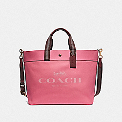 COACH F73195 Extra Large Tote With Coach Print PINK RUBY/GOLD