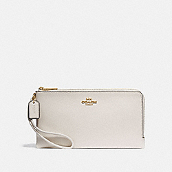 COACH F73200 Double Zip Wallet CHALK/IMITATION GOLD