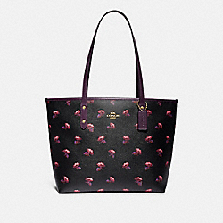 CITY ZIP TOTE WITH BELL FLOWER PRINT - F73203 - BLACK/MULTI/GOLD