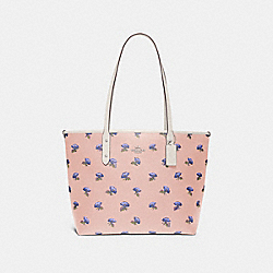 CITY ZIP TOTE WITH BELL FLOWER PRINT - F73203 - PINK/MULTI/SILVER