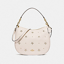 ELLE HOBO WITH ALLOVER STUDS - F73208 - CHALK