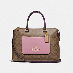 EMMA SATCHEL IN COLORBLOCK SIGNATURE CANAVAS - F73219 - TULIP/KHAKI/GOLD