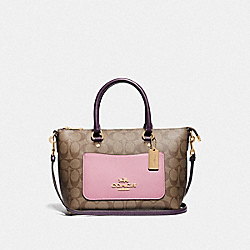 MINI EMMA SATCHEL IN COLORBLOCK SIGNATURE CANVAS - F73220 - TULIP/KHAKI/GOLD