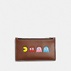 ZIP CARD CASE WITH PAC-MAN MOTIF - F73222 - SADDLE/BLACK ANTIQUE NICKEL