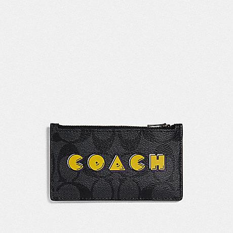 COACH F73225 ZIP CARD CASE IN SIGNATURE CANVAS WITH PAC-MAN COACH SCRIPT CHARCOAL/BLACK/BLACK ANTIQUE NICKEL