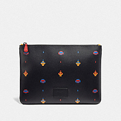 COACH F73227 - LARGE POUCH WITH ALLOVER ATARI PRINT BLACK MULTI/BLACK ANTIQUE NICKEL
