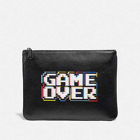 COACH F73229 LARGE POUCH WITH PAC-MAN GAME OVER MOTIF BLACK MULTI/BLACK ANTIQUE NICKEL