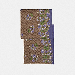 COACH F73235 Signature Lily Bouquet Print Oblong Scarf KHAKI/PURPLE