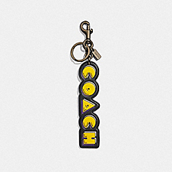 COACH F73237 - PAC-MAN COACH SCRIPT BAG CHARM BLACK/BLACK ANTIQUE NICKEL