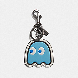 PAC-MAN MOTIF BAG CHARM - F73238 - SOFT BLUE/BLACK ANTIQUE NICKEL