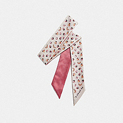 MIXED FRUIT PRINT SILK SKINNY SCARF - F73241 - CHALK