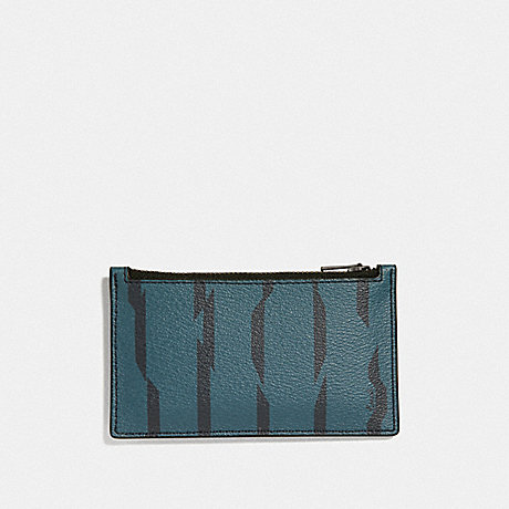 COACH F73243 ZIP CARD CASE WITH DISRUPTED STRIPE PRINT TEAL MULTI/BLACK ANTIQUE NICKEL