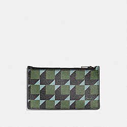 COACH F73244 Zip Card Case With Cube Print GREEN MULTI/BLACK ANTIQUE NICKEL