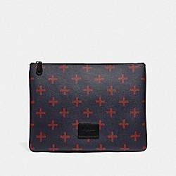 COACH F73246 - LARGE POUCH WITH CROSS PRINT MIDNIGHT MULTI/BLACK ANTIQUE NICKEL