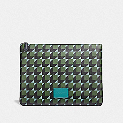 COACH F73247 - LARGE POUCH WITH CUBE PRINT GREEN MULTI/BLACK ANTIQUE NICKEL