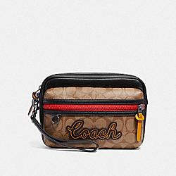 TERRAIN POUCH IN SIGNATURE CANVAS - F73254 - TAN/BLACK ANTIQUE NICKEL