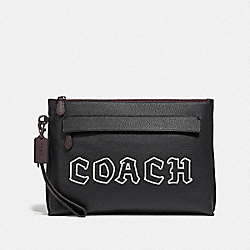 COACH F73268 Carryall Pouch With Gothic Coach Script BLACK