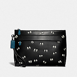 DISNEY X COACH CARRYALL POUCH WITH SNOW WHITE AND THE SEVEN DWARFS EYES PRINT - F73269 - BLACK/MULTI