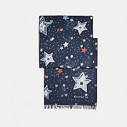 WESTERN STAR PRINT OBLONG SCARF - F73284 - NAVY