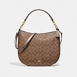 COACH F73285 - ELLE HOBO IN SIGNATURE CANVAS GOLD/KHAKI/PLATINUM
