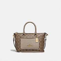 MINI EMMA SATCHEL IN SIGNATURE CANVAS - F73286 - GOLD/KHAKI/PLATINUM