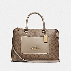 EMMA SATCHEL IN SIGNATURE CANVAS - F73287 - GOLD/KHAKI/PLATINUM