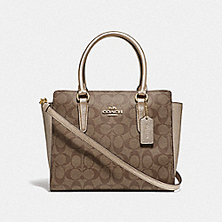 LEAH SATCHEL IN SIGNATURE CANVAS - F73288 - GOLD/KHAKI/PLATINUM